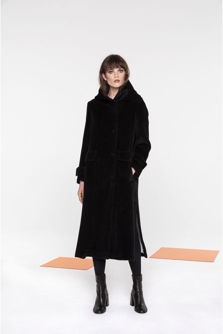 Long hooded coat in black alpaca