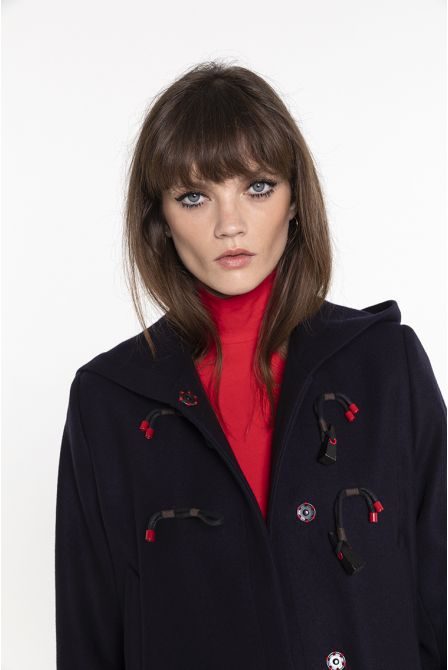 Long duffle coat in navy wool and cashmere