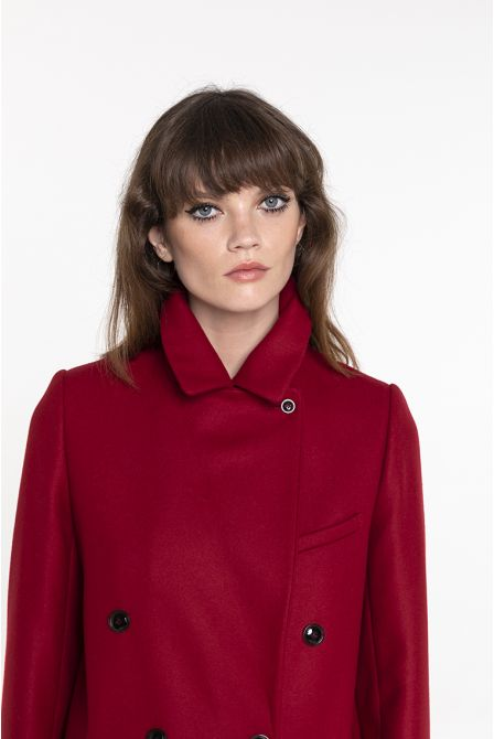 Sherry red coat in wool and cashmere