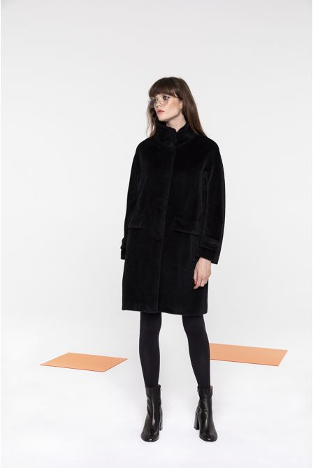 Mid-length funnel neck coat in black alpaca