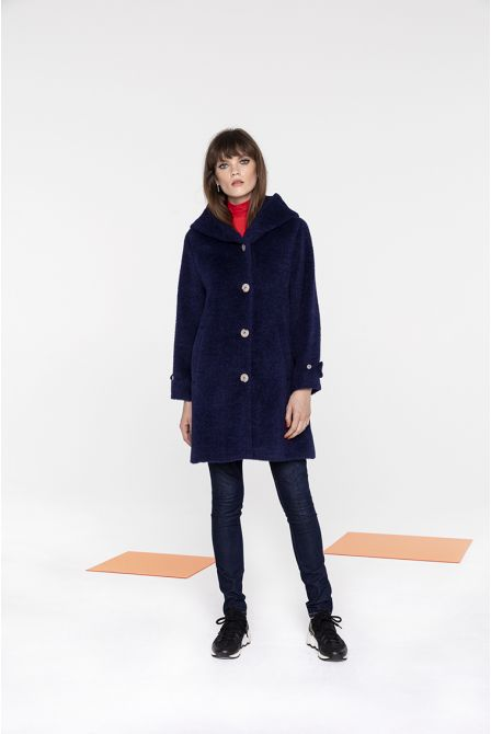Warm wool and alpaca indigo hood coat