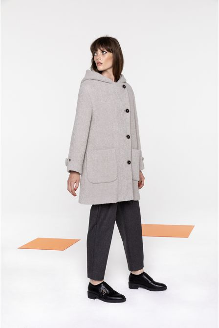 Mid-length hooded coat in beige boucle fabric