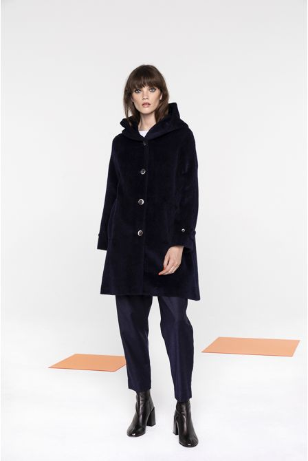 Short hooded coat in navy alpaca