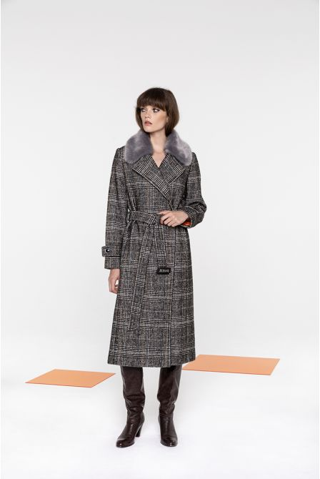 Manteau long en Prince de Galles