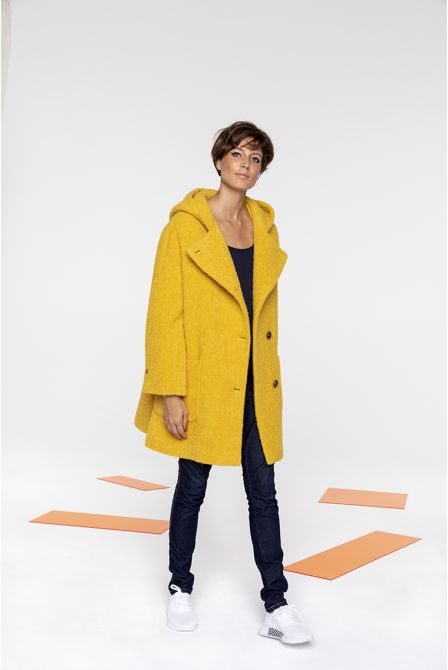Mid-length hooded coat in yellow boucle fabric