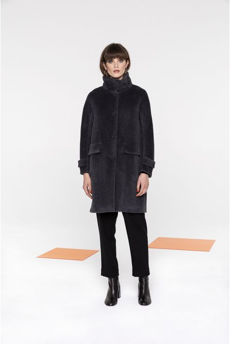 Mid-length funnel neck  coat in grey alpaca