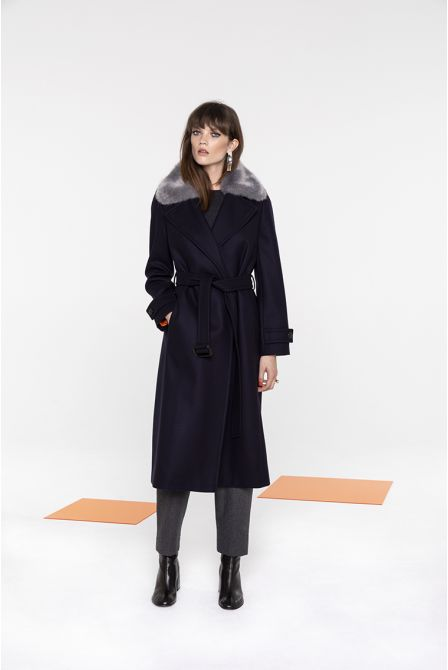 Long coat in navy wool and cashmere