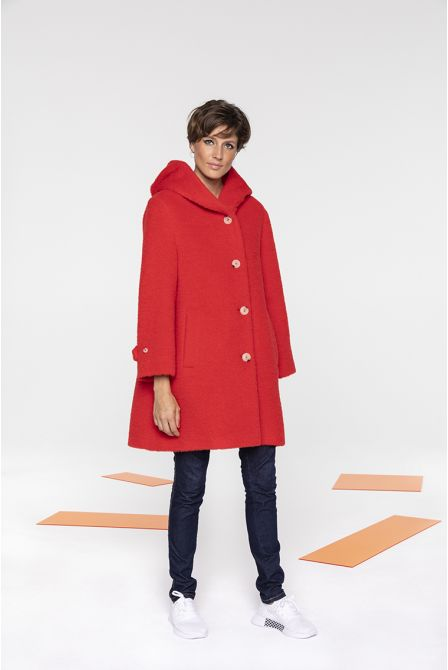 Warm wool and alpaca red hood coat