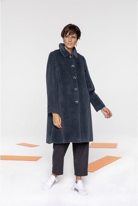 Hairy Alpaca wool flared coat in stormy blue color