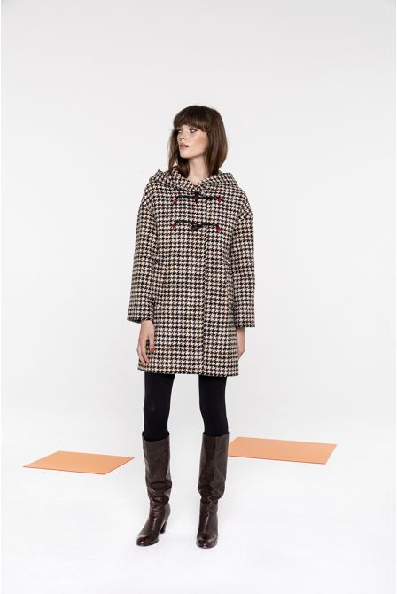 Mid-length duffle coat in shepherd's check wool