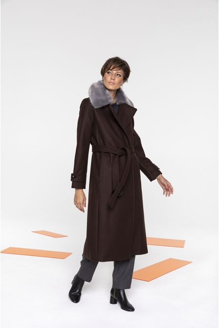 Long coat in brown wool and cashmere