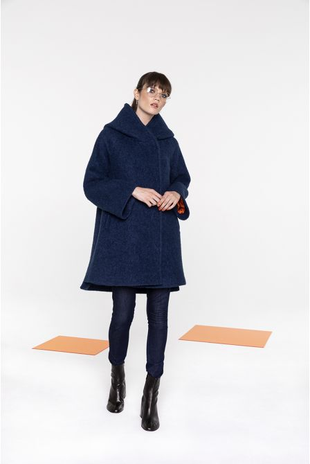 Flared hooded coat in ocean blue bouclé