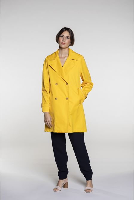 Pea jacket style raincoat in yellow cotton gabardine
