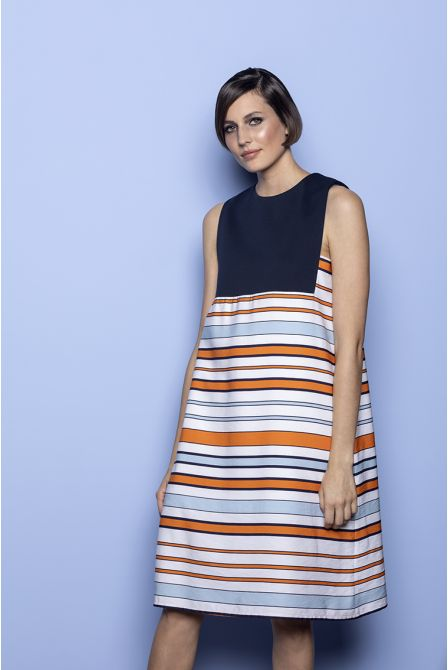 A-line dress in navy and  strips two-material