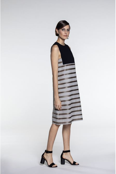 A-line dress in beige and black two-material with strips