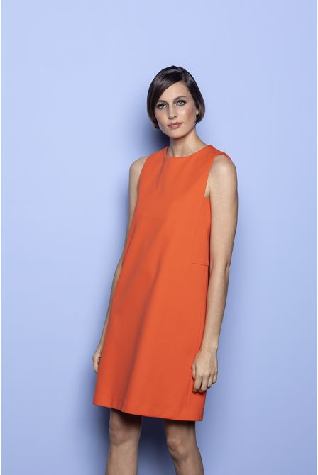 Straight dress in orange cotton piqué