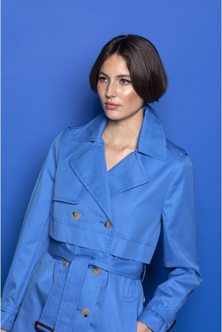 Short Trench in Blue cotton gabardine