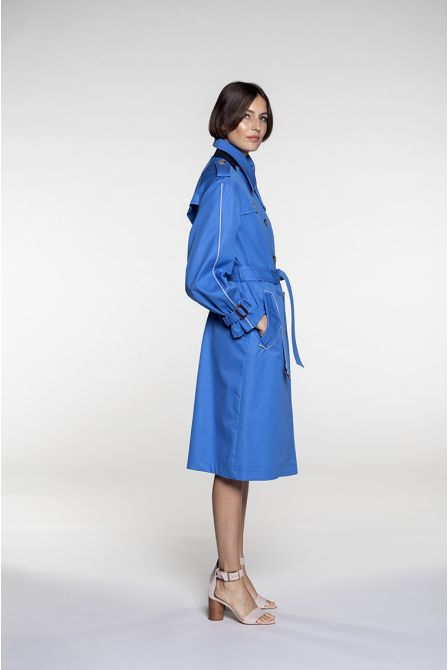 Long Trench in azure blue cotton gabardine