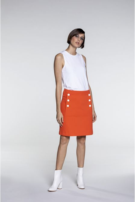 Drop front skirt in orange cotton piqué