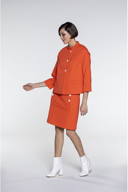 Short collarless jacket in orange cotton piqué