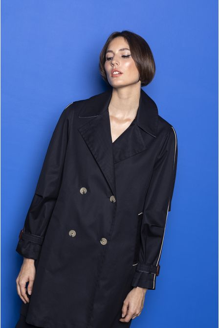 Pea jacket style raincoat in navy cotton gabardine
