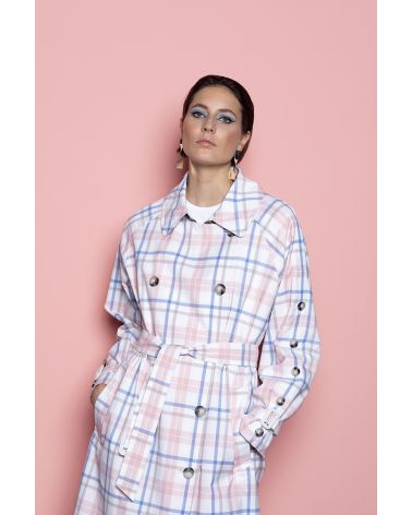 Long Trench in baby pink and blue tartan