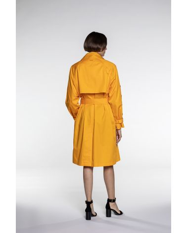 Trench in saffron cotton satin
