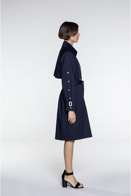 Trench in navy cotton satin
