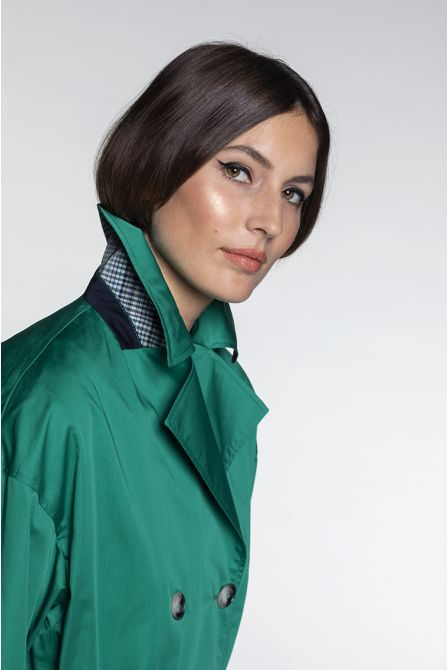 Oversize Trench in green cotton satin