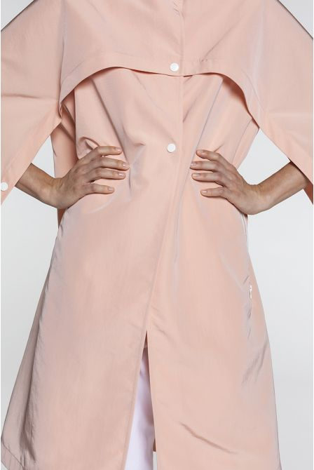 Fluid pink oversize raincoat with a cape style