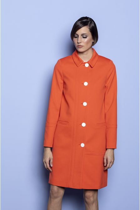Straight summer coat in orange cotton piqué
