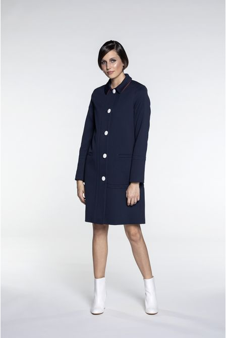 Straight summer coat in navy cotton piqué