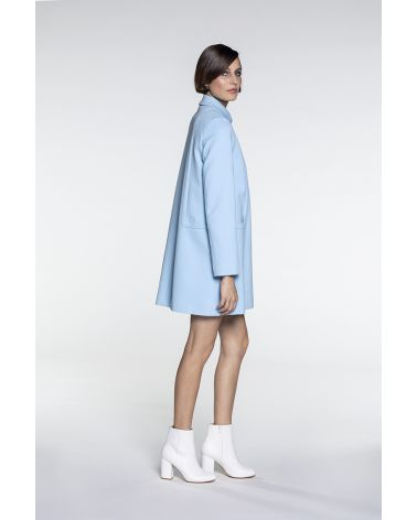 Retro summer coat in sky blue cotton piqué