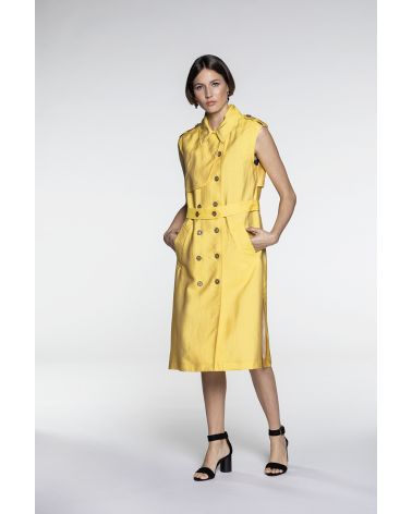 Trench style yellow fluid dress