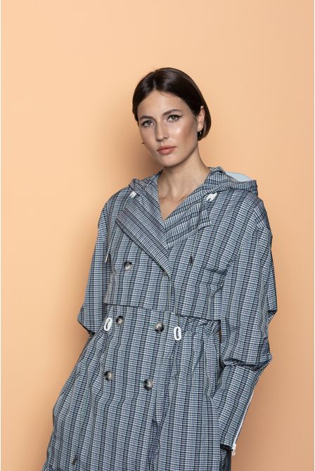 Extra-long Sportswear hooded raincoat in checked fabrics