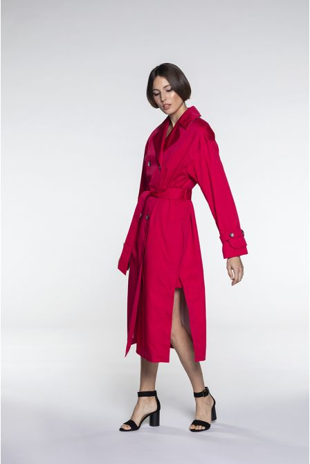 Oversize Trench in raspberry cotton satin