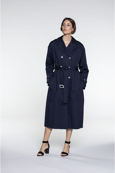Oversize Trench in navy cotton satin