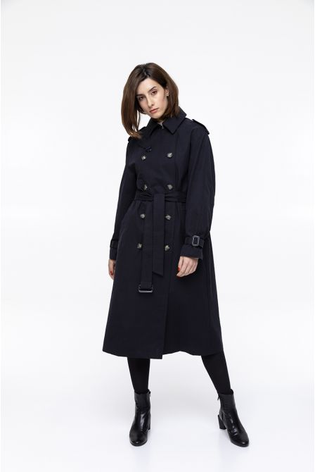 Long navy blue raincoat in waxed cotton