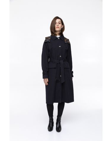 Long hooded raincoat in waxed  cotton bi-material navy blue check fabric