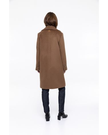 caramel coat in 100% virgin wool