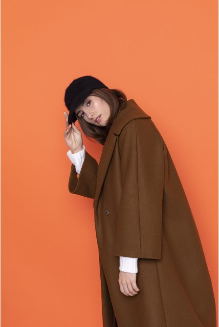 caramel flared long coat in wool gabardine