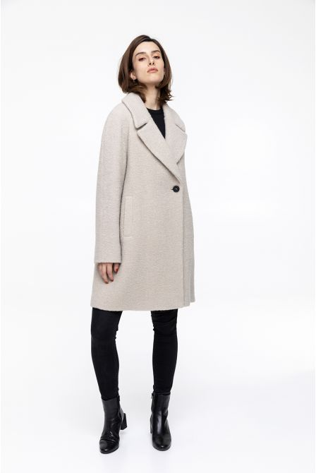 beige flared  boucle coat in  virgin wool