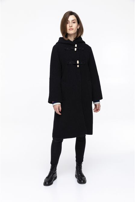 black  coat with hood with in boucle virgin wool