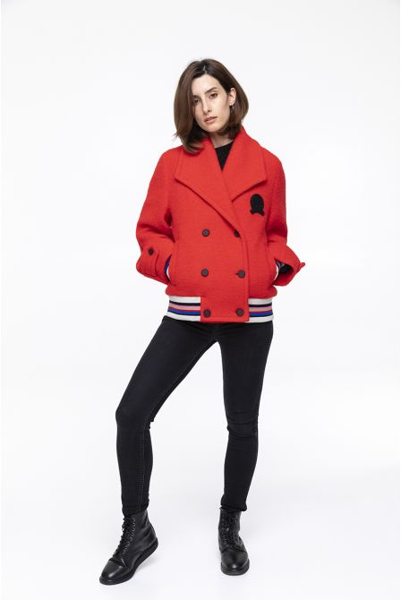 red peacoat in boucle virgin wool