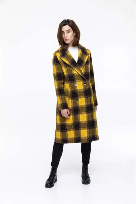 Yellow check  coat in virgin wool
