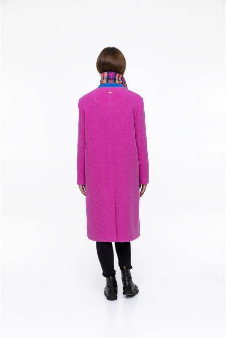 pink coat in virgin  wool boucle fabric