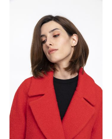 red flared  boucle coat in  virgin wool