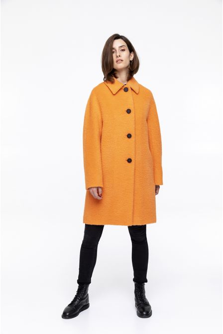 orange hairy coat in virgin wool for woman