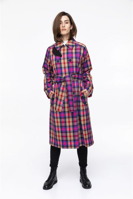 Coat spirit trenchcoat with coloured checks