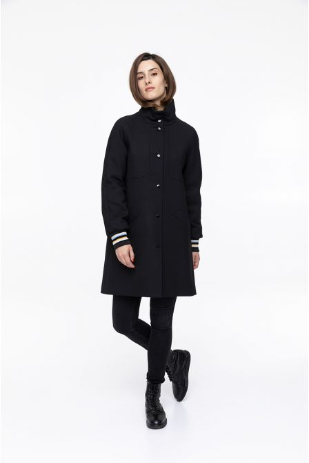 black stand  collar coat